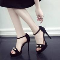 Giày sandal cao gót nữ phối ngọc cực chất