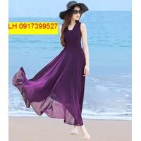 đầm maxi đi biển mùa hè vintage váy maxi đi biển L12MX25