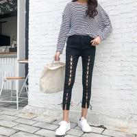 quần jeans skinny đan dây Mã: QD1837 - ĐEN
