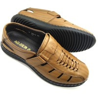 Giày lười nam da bò thật có đục lỗ thoáng đi mùa hè AD41N