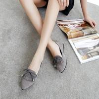 Giày búp bê nữ phối nơ tua rua - LN1597