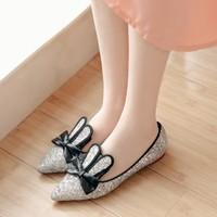 Giày búp bê nữ kim tuyến nơ tai thỏ - LN1598