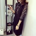 Đầm xuông đen kết hợp cổ và tay áo hoa