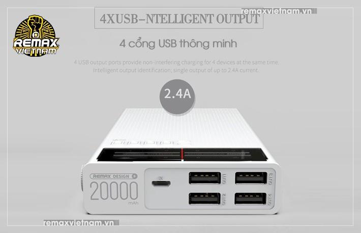 Pin sạc dự phòng 20000mAh 4 cổng USB Remax RPP-102 2