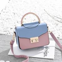 Túi da phối màu thời trang, quai tròn