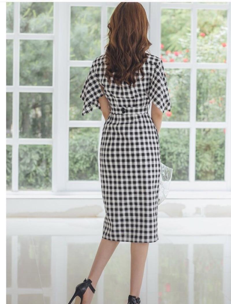 Đầm công sở sọc caro