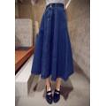 Chân váy jean xòe dài 2 nút