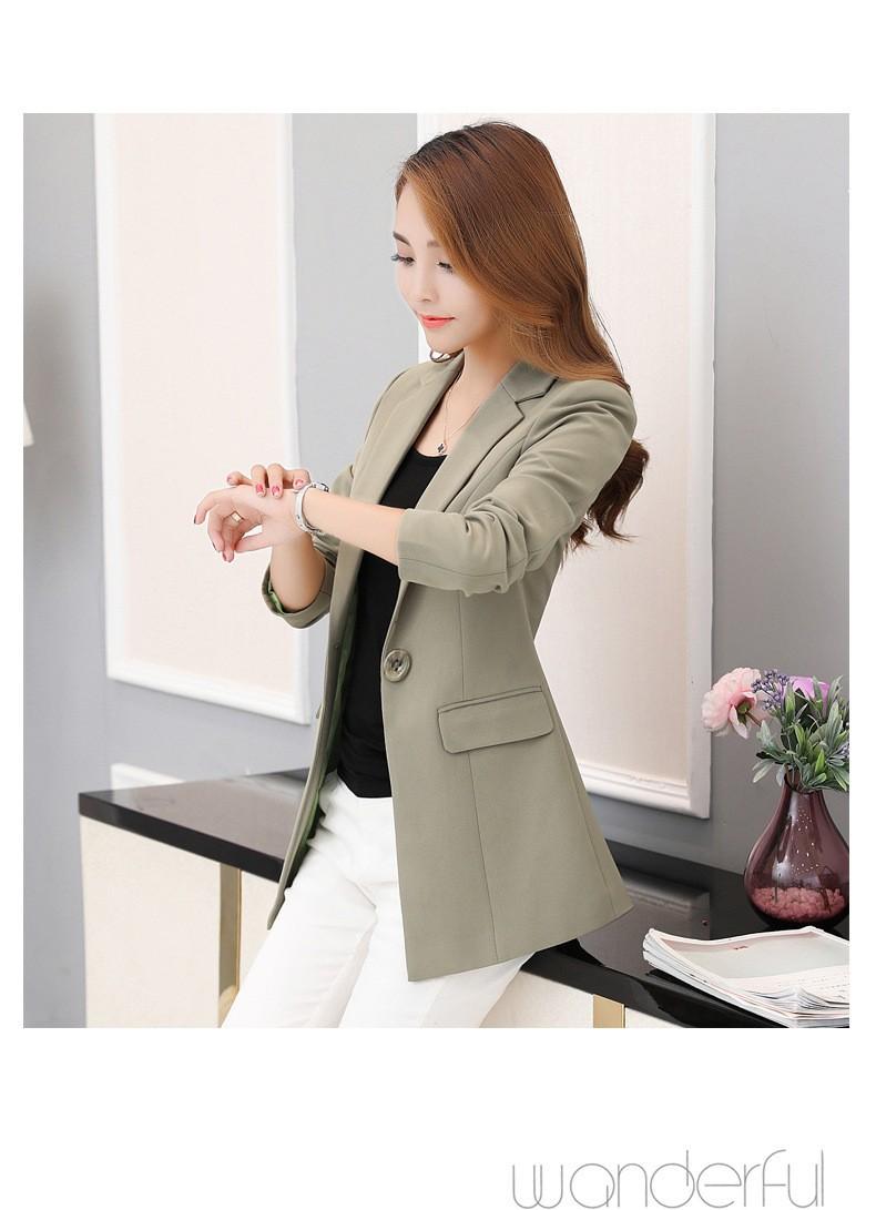 Áo khoác vest nữ khuy nút to - Xanh rêu