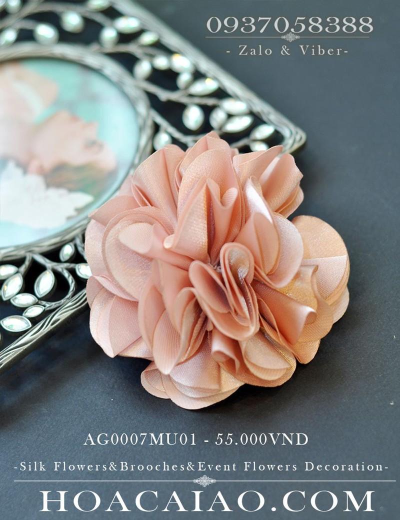 Bộ 5 hoa lụa cài áo tông hồng af0007mu01