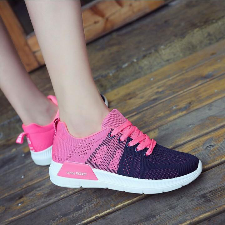 Giày thể thao nữ r7 tăng chiều cao màu hồng đen