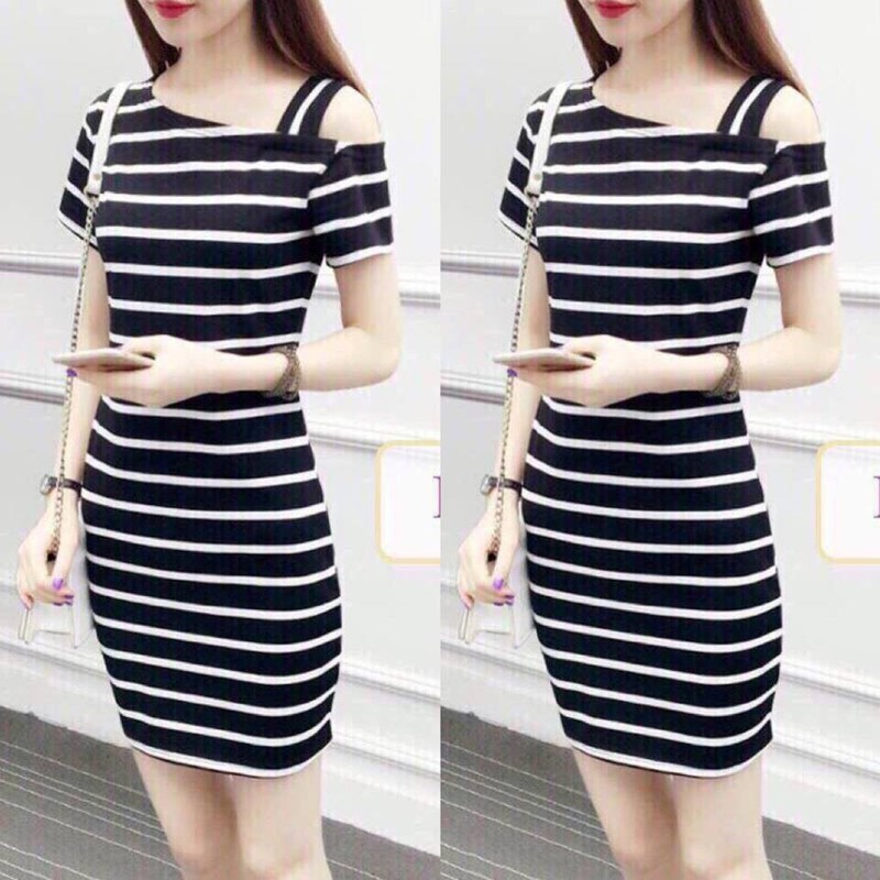 Đầm ôm giá rẻ sọc ngang size từ 40kg đến 65kg-bm45