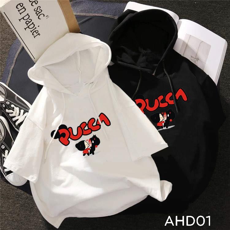 Áo thun teen nam nữ hoodie tay lỡ có nón hình pucca