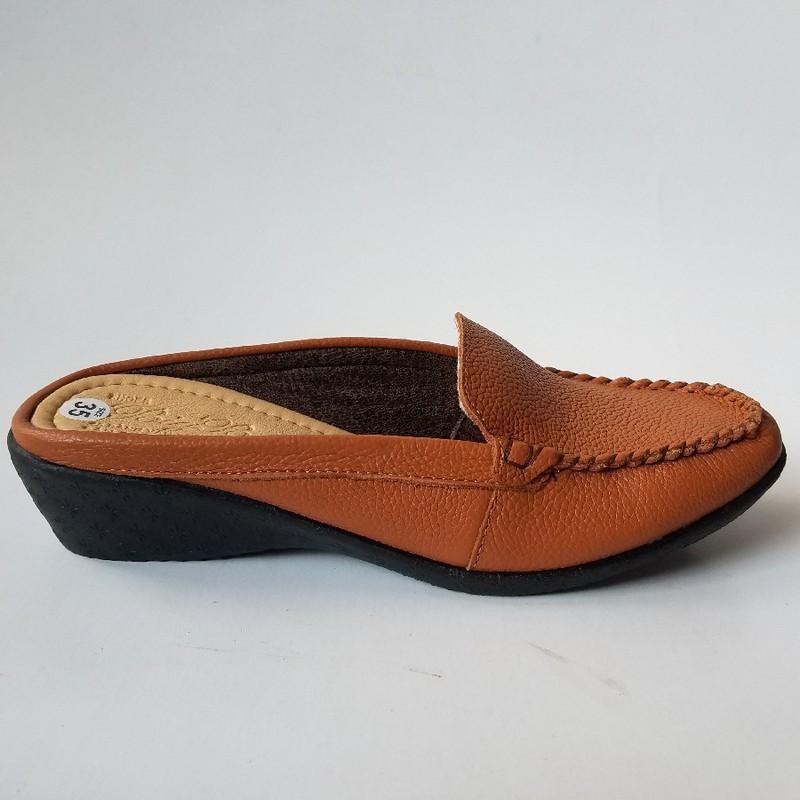 Giày sabo nữ da bò màu nâu - jz1316
