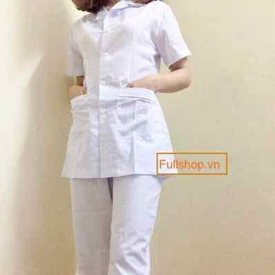 Bộ áo blouse nữ áo y tá nữ áo điều dưỡng nữ cộc tay
