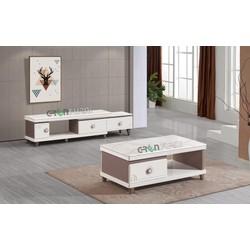 COMBO bàn trà, kệ tivi mặt đá nhập khẩu cao cấp Greenfurni TS-TV60005