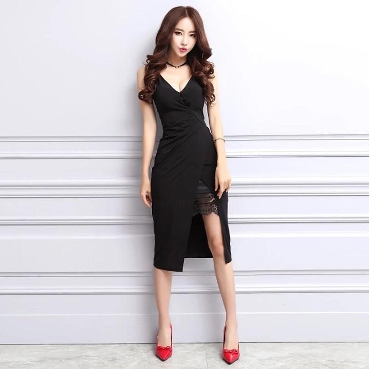 Đầm body 2 dây xẻ tà phối ren sexy