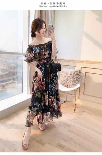 Đầm maxi hoa bẹt vai tay bèo