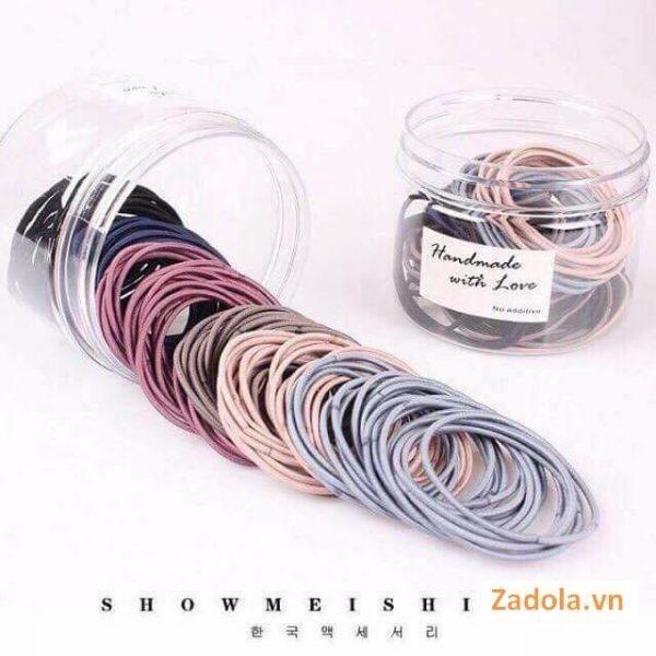 Set 100 dây chun buộc tóc nhiều màu