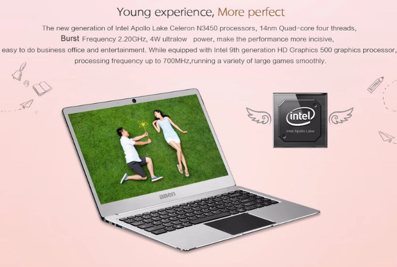 Laptop BBEN UltraThin Intel N3450 Ram 4G Rom 64Gb Mau Hong Vang Home and Garden