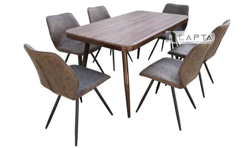 TN 1216-14W   Bàn ăn 1m4 mặt vân gỗ màu nâu đậm chân bàn sắt sơn tĩnh điện tphcm