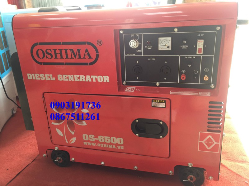 Máy phát điện 5kw giá rẻ- Máy phát điện Oshima 6500 đề nổ, máy dầu bền bỉ- giảm âm- Chuyên phân phối