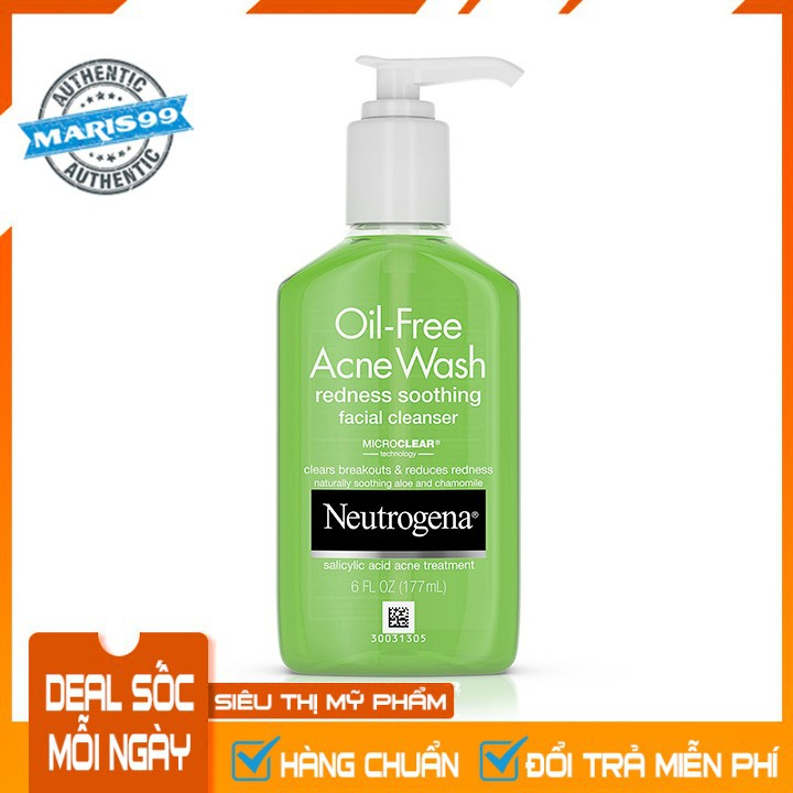 Sữa Rửa Mặt Neutrogena Oil Free Acne Wash Redness Soothing Facial Cleanser (177ml) - 100% Authentic