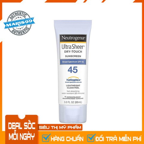 Kem chống nắng Neutrogena Ultra Sheer Dry Touch SPF 45 (88ml) - 100% Authentic