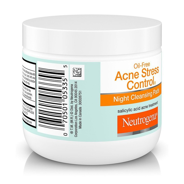Bông Tẩy Trang Neutrogena Oil-Free Acne Stress Control® Night Cleansing Pads (60c) - 100% Authentic