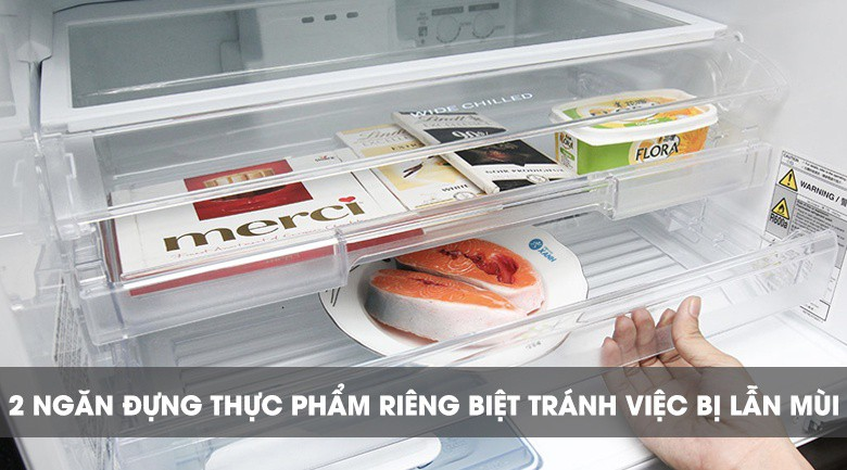 2 ngăn thực phẩm riêng biệt - Tủ lạnh Mitsubishi Electric Inverter 358 lít MR-CX46EJ-BRW-V
