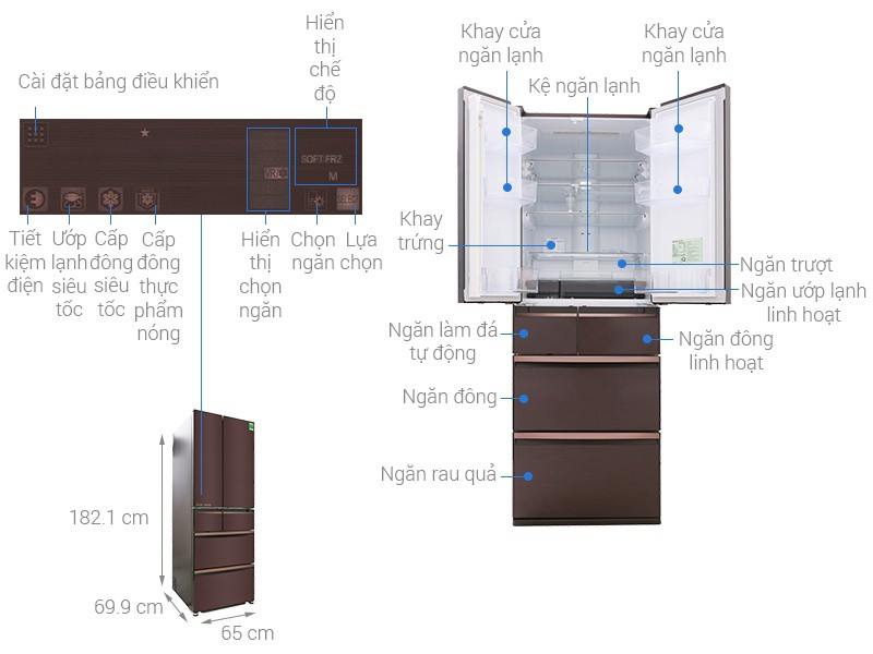 Thông số kỹ thuật Tủ lạnh Mitsubishi Electric Inverter 506 lít MR-WX53Y-BR-V