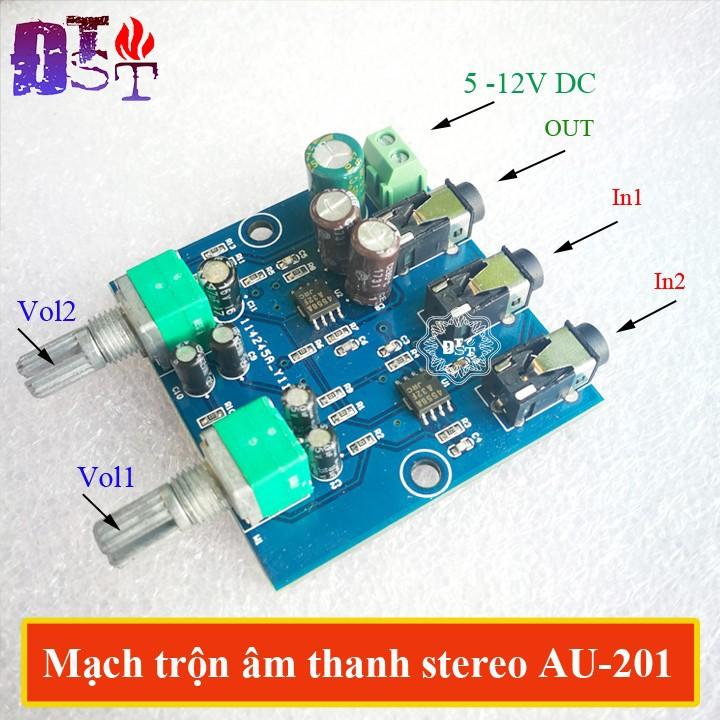 Mạch trộn âm thanh stereo AU-201 DC 5V-12V 2 Đầu vào 1 đầu ra