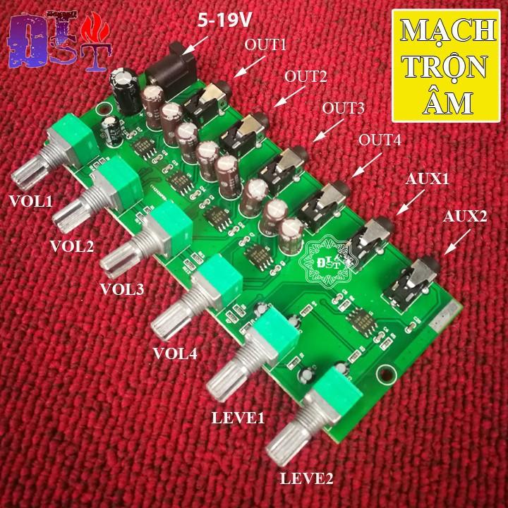 Mạch trộn âm thanh stereo AU-204 DC 5V-12V 2 Đầu vào 4 đầu ra