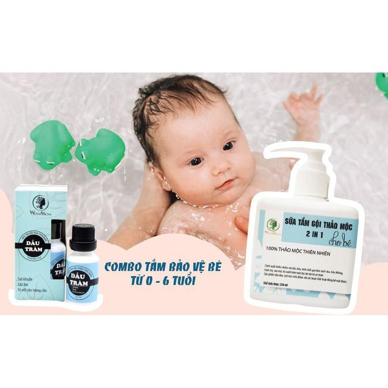 Bộ Tắm Gội Giữ Ấm Cho Bé WonMom (1 Chai Dầu Tràm và  1 Chai Sữa Tắm Thảo Mộc):4733