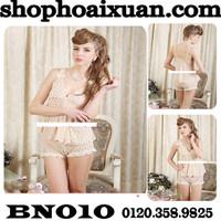 Đồ bộ ngủ bông hoa dễ thương thun lưới mềm mịn - BN010