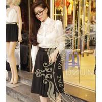Chân váy xòe đen nơ Chanel - DT 367