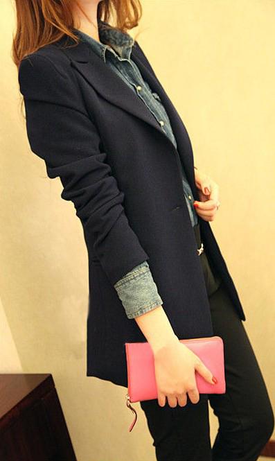 Áo vest dài đẹp màu xanh đen 255