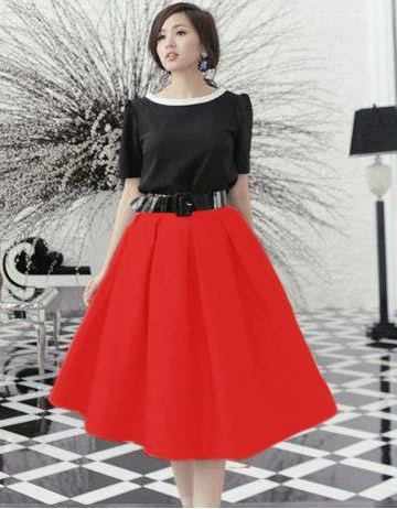 Chân váy xòe đen xếp ly TÂM TÍT - DT 450