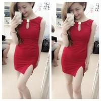 Đầm thun ôm xẻ tà