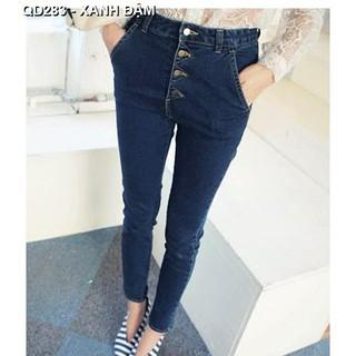 Quần jeans nữ lưng cao nhiều nút Mã: QD283 - XANH ĐẬM