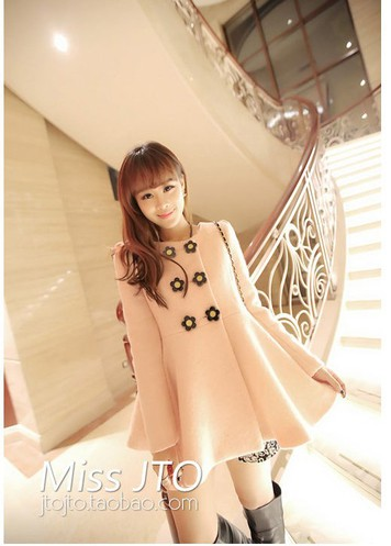 Hình ảnh áo khoác dạ W0006 490k 3 màu trắng, hồng, vàng 3