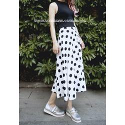 Chân váy dài chấm bi vintage