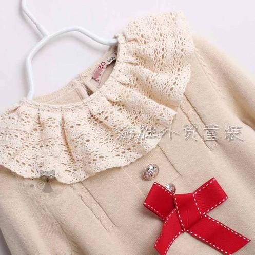 Áo len mầu kem bé gái, size: 18 -6 tuổi  1