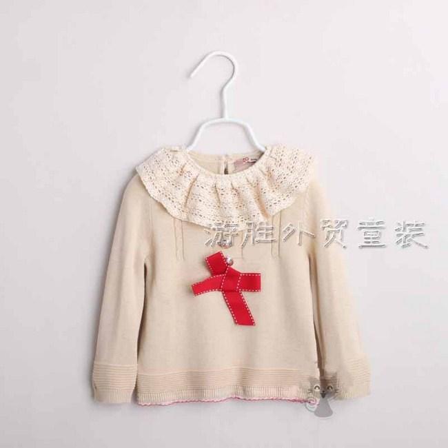 Áo len mầu kem bé gái, size: 18 -6 tuổi