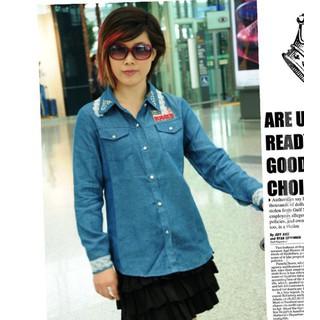 áo sơ mi jeans phối ren cá tính Mã AM451 - XANH ĐẬM - AM451 - XANH ĐẬM thumbnail