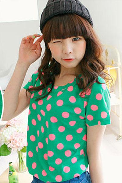 ao thun teen korea cham bi 1m4G3 78 2hn3g57afo58t Duyên dáng vào hè cùng với áo thun nữ cổ tròn