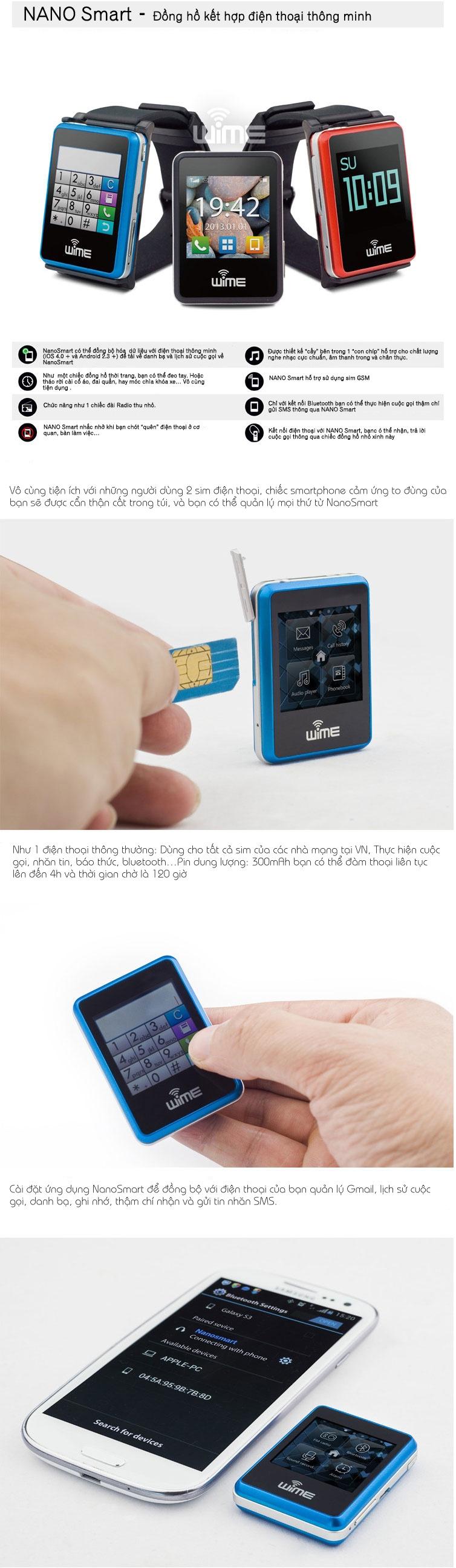 Đồng hồ thông minh Bluetooth WIME Nano Smart 1