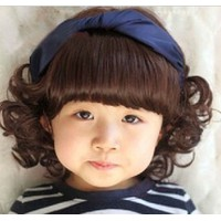 Bộ nón chùm tóc giả kèm băng đô xanh cho bé gái