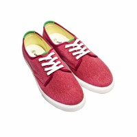 Giày bata  4 nút cột dây - màu đỏ
