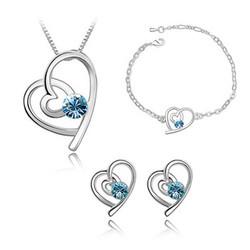 Bộ trang sức trái tim cách điệu hạt đá xanh