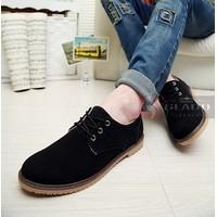 Giày da lộn cao cấp Glado phong cách Hàn Quốc màu đen - G06